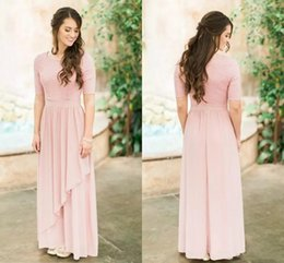 0a09c00ca2 Modest Long Bridesmaid Dresses 2019 Half Sleeves Lace Chiffon Country  Wedding Guest Dress Boho Sleeved Maid of Horn Gowns