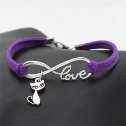 $enCountryForm.capitalKeyWord Australia - New Fashion Metal Alloy Infinity Love Cats Fox Pendant Bracelet Simple Purple Leather Suede Rope Adjustable Jewelry For Women Men Party Gift