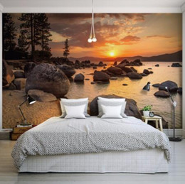 RiveRs photos online shopping - Nature Landscape Sunset Nightfall River Scenery Photo Mural for Bedroom Living Room Wall Decor Non woven Customized D Wallpaper