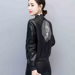 Wholesale Embroidered short leather jacket female new fashion women clothing Spring and autumn women coat leather female outerwear