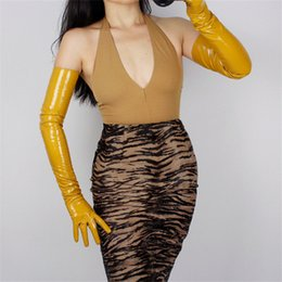 black patent leather gloves Australia - 70cm Extra Long Leather Gloves Emulation Leather PU Slim Hand Warm Female Ginger Yellow Bright Yellow Patent Leather WPU77-70