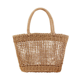 Chinese  Hollow Mesh Pattern Handmade Straw Bag Casual Woven Handbags Shoulder Beach Bag Unlined Cloth Totes Fashionable Bags For Summer manufacturers