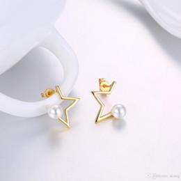 $enCountryForm.capitalKeyWord Australia - 2017 New Korean Earrings Simple Design Half Star Pearl Earrings Fashion Gold Jewelry Earrings For Women