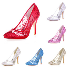 Ivory lace pumps weddIng online shopping - 0255 Ivory High Heels Women Pump Prom Party Evening Dance Wedding Bridal Shoes Pointed Toe cm Stiletto Heel Paillette Grenadine Sequins