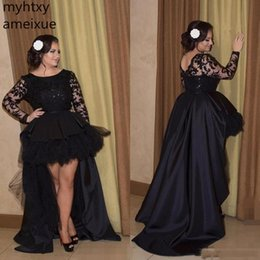 $enCountryForm.capitalKeyWord Australia - Black Long Sleeve Evening Dresses 2019 High Low Prom Plus Size Lace Ruffles Long Gown De Fiesta Formal Party Robe De Soiree