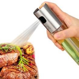 Kitchen restaurants online shopping - Oil Spray Bottle Pump Glass Olive Sprayer Cooking Stainless Steel Oil Pot Leak proof Drops Oil Dispenser BBQ Kitchen Tool