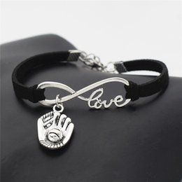 Casual Leather Gloves Australia - New Punk Sports Antique Silver 3D Baseball Glove Pendant Charm Bracelet Black Leather Rope for Friend Gift Men Women Casual Baseball Jewelry