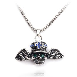 skull wing pendants Australia - free shipping Skull Pendant Necklace For Man Punk Style Skeleton with Wing Blue Crystal Eye Cool Jewelry Choker For Cowboy