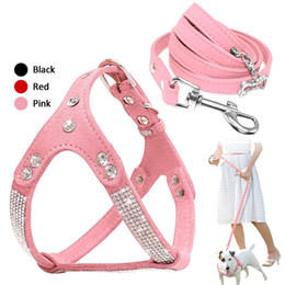 suede rhinestone dog collars Canada - Soft Suede Leather Dog Harness and Leash Set Rhinestone Puppy Vest with Crystal Bone Pendant for Small Medium Pets Chihuahua
