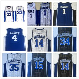 4de495e0f NCAA Duke Blue Devils 4 JJ Reddick 1 Irving 14 Ingram 33 Hill 34 Carterjr 35  Bagley III 15 Okafor College Basketball Jerseys