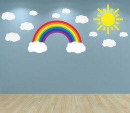 Playroom Art Australia - W307 Rainbow Clouds and Sun Wall Art Decal sticker for Nursery Bedroom wall decals Playroom Baby Room