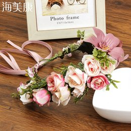 Wholesale Haimeikang Fashion Boho Lily Flower Headband Colors New Vacation Beach Floral Headwear for Women Beauty Hair Accessories