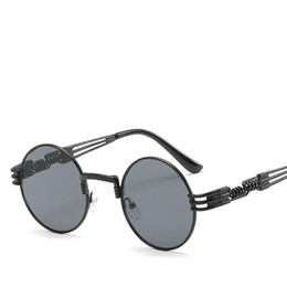 Round Mirror Wholesale Australia - Round Steampunk Sunglasses Men Women Retro Designer Eyewear Mirror Punk Sun Glasses Vintage Female Male Punk Eyeglasses