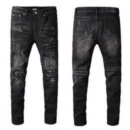 Wholesale hot designer jeans for men for sale – denim hot sale New Mens Distressed Ripped Biker Jeans Slim Fit Motorcycle Biker Denim For Men Fashion Designer Hip Hop Mens Jeans Good Quality