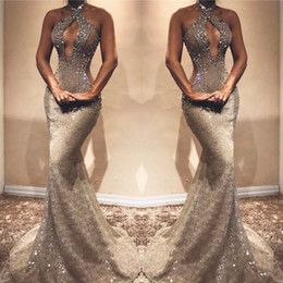 Black evening dresses for ladies online shopping - Gray Beaded Lace Mermaid Prom Dress Bust Hollow Backless Sleeveless Prom Evening Party Wear for Sexy Lady Graduation Dresses Custom Made