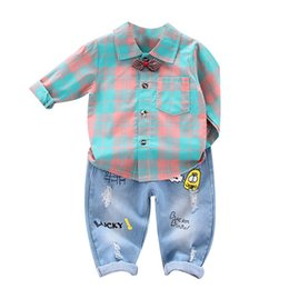 Wholesale Infant Clothing For Baby Boys Clothes Set Autumn Winter Baby Boys Clothes T shirt Denim Pant Trouser Costume Outfit SuitS