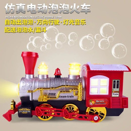 electric car toy baby 2019 - Baby Toy Scale Simulation Cartoon Electric Universal Blowing Bubble Train Children Plastic Model Toys Car For Children T