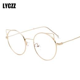 409a1ce502 LYCZZ Women Sexy Cute Eyeglasses Frame Cat Eye Clear Lens Ladies Girls  spectacle frames Round Fashion prescription eyewear