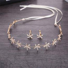 $enCountryForm.capitalKeyWord Australia - Cheap Jewelry Luxury Hair Jewelry Starfish Crystal Bride Tiaras Wedding Hair Accessories headdress Gold Headbands Ribbon Chain Gift