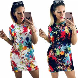mini tees Canada - Fashion Colorful Ink Printed Casual Mini Dresses Women Summer Short Sleeve T Shirt Dress Hip Hop Femme Long Tee Shirt Club Party Dress