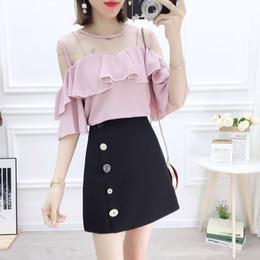 e519e72166b korean chiffon pants 2019 - Summer 2019 new short skirt Korean fashion suits  chiffon blouse top