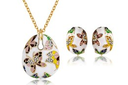 White Butterfly Necklace Sets Australia - European and American jewelry enamel colorful butterfly necklace earrings bracelet three crystal jewelry set