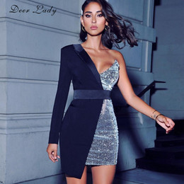 Wholesale sexy women dresses xs resale online – Deer Lady Blazer Dress Sexy Women Sequin Long Sleeve Bodycon Dress Party Club Elegant Sexy V Neck One Shoulder