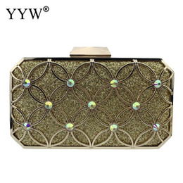 Golden chain price online shopping - Wedding Party Bags Clutches Women Gold Crystal Evening Bag Purse Factory Price Golden Clutch Bag Silver Small Handbag With Chain