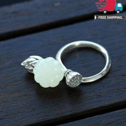 Ring Adjust Size Australia - Hip Hop New Arrival Jewelry Rings 925 Silver Natural Hotan Jade Seedpod Of The Lotus Pumpkin Hatch Ring Ma'am Can Adjust Nation Wind