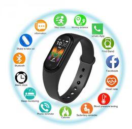 Venta al por mayor de rastreador M5 Smart Call reloj SmartBand la aptitud del deporte de tensión inteligentes pulseras de sangre real monitor de ritmo cardíaco música de Bluetooth impermeable