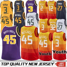 2019 New 45 Donovan Mitchell 3 Ricky Rubio 27 Rudy Gobert 2 Joe Ingles 24  Grayson Allen 32 Karl Malone Football jerseys 100% Stitched 4b8b7298b
