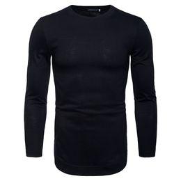 Mens Long Sleeve T Shirt Xxl Australia - Male 2019 Brand Long Sleeve Pure Color T Shirt O-neck Slim Men T-shirt Tops Fashion Mens Tee Shirt T Shirts S-xxl Gjty