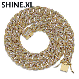 $enCountryForm.capitalKeyWord Australia - Hip Hop Jewelry New Style 13mm Cuban Link Chain Necklace Iced Out Zircon Gold Silver Plated Charm Jewelry for Men