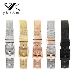 Pave Clasps Australia - Yukam Jewelry Women Girls Stainless Steel Mesh Keeper Bracelets Bangles For Collection Pave Slide Charms Silver Rose Gold Black Y19051002
