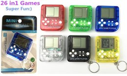classic tetris game NZ - Tetris Machine Mini Game Player Keychain Portable Plastic Classic Toy Game Gift Box Electric Machine Toy Education Toy for Kids