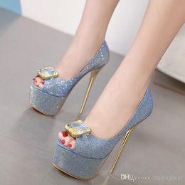 $enCountryForm.capitalKeyWord NZ - Sexy2019 Glitter Blue Big Gem Peep Toe Platform High Heels Gold Shoes Women Prom Shoes Size To