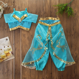 $enCountryForm.capitalKeyWord Australia - Girls outfits halloween kids lace hole rhinestones sequins princess sets child lace gauze embroidery aladdin magic lamp cosplay clothes F853