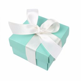 Sweet Party Box Australia - 50pcs Wedding Candy Box Jewelry Gift Case Pouch Favor Sweets Chocolates Box Turquoise Square Box with Silk Ribbon Party Favor