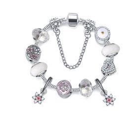 White Silver Bracelet Australia - 925 Sterling Silver Murano Lampwork Glass & White Crystal European Charm Beads Valentine's Day Fits Pandora Charm bracelets Style Bracelets