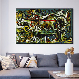 $enCountryForm.capitalKeyWord NZ - Abstract Painting Wall Art by Jackson Pollock Replic Gilcee Print on Canvas Famous Posters Picture Living Room Home Office Decor