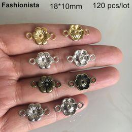 $enCountryForm.capitalKeyWord Australia - 120 pcs Flower Connectors 18*10mm,Gold-color,Silver-color,Bronze,Steel Color, 6 Petal Flower Link For Jewelry & Crafts Making