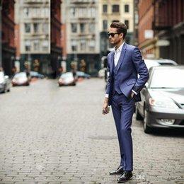$enCountryForm.capitalKeyWord Australia - Hot Sale 3 Piece (Jacket+Pants+vest) Blue Business Mens Suits Wedding Tuxedos Groomsmen Best Man Suit Formal Suit for Men