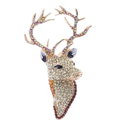 Crystal Heads UK - brooch pins Reindeer Brooches Rhinestone Crystals Yellow Animal Head Deer Broach Brooch Pins Jewelry Accessories FA3181
