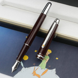 Promotion Petit Prince Rollerball Ballpoint Fountain Pen Luxury Stationery Wine Red Silver Clip Engrave with MB Serial Number on Sale
