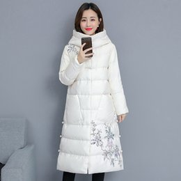 Floral Longer Hooded Winter Parka Australia - YICIYA whiter Long parka jacket women plus size thick warm coat winter hooded floral Chinese outerwear coats 2019 black clothing
