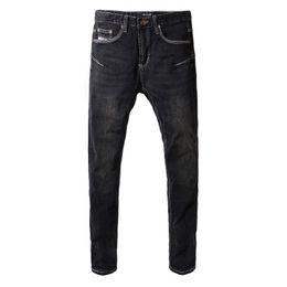 Denim Pants Men Skinny NZ - Fashion Classical Men Jeans Elastic Denim Pencil Pants Simple Black Skinny Jeans Men Big Size Streeetwear Hip Hop homme