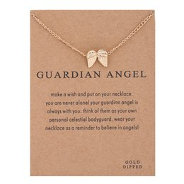 $enCountryForm.capitalKeyWord Australia - Women Necklaces Gold Silver Color Angel Wings Alloy Pendants with Card Guardian Angel Fashion Necklace Jewelry
