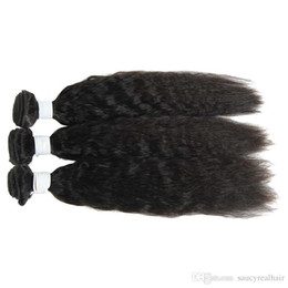 $enCountryForm.capitalKeyWord UK - Brazilian Virgin Human Hair Kinky Straight Hair Bundle Natural Color Yaki straight wave hair weaving, free DHL