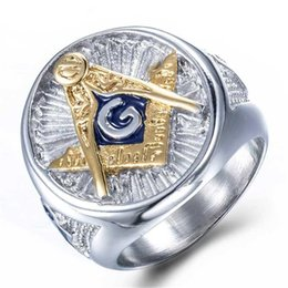 masonic rings shipping 2019 - Hip Hop New Masonic Ring Silver Gold Color Big Ring For Men Blue Enamel Gift For Brother Friend Drop Shipping discount m