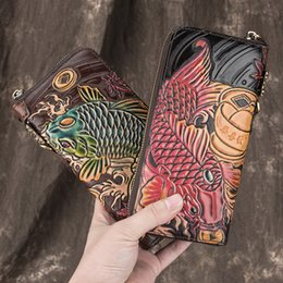 cowhide clutch wholesale Australia - Genuine Leather Long Clutch Wallets Women Men Relief Fish Zipper Purses Phone Pouches Banknote Pockets Card Wallet Wristlets Handbag Gifts